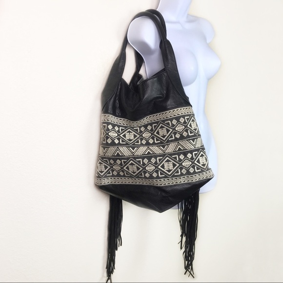 T-shirt & Jeans Handbags - T-Shirt & Jeans Large Black Purse Boho Fringe Bag